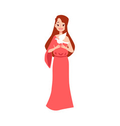 Woman or aphrodite greek goddess stands holding vector
