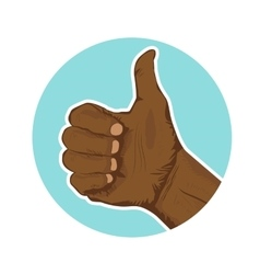 hand of african american giving thumbs-up vector image vector image