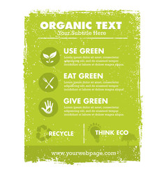 organic eco green banner background and vector image vector image