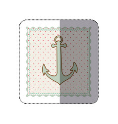 sticker frame with silhouette of anchor with vector image