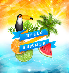 Summer poster design with parrot toucan slices of vector