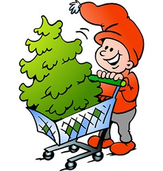 Hand-drawn of an Happy Christmas Elf shopping a vector image vector image