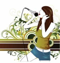 sing star pop girl vector image vector image