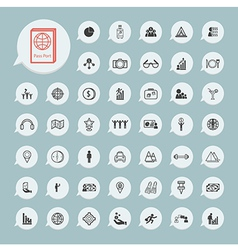 Business icons and itinerary icons Set on blue vector image vector image
