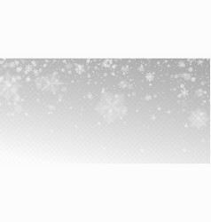 realistic falling snow with white snowflakes vector image