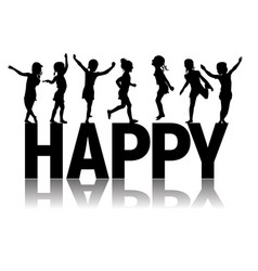 silhouettes letters happy and children vector image