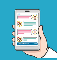 smartphone physician online consultation vector image vector image
