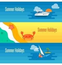 Summer Holidays Banner with Sea Crab vector image