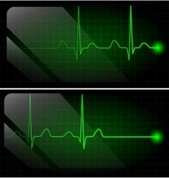 Abstract heart beats cardiogram on green monitor vector image