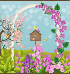 beautiful spring card with bird house vector image