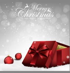 christmas decorations balls and gift box vector image