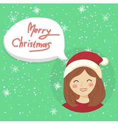Circle Christmas Girl Bubble Speech vector image vector image