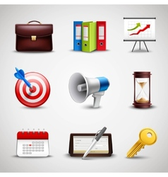 Realistic Business Icons vector image