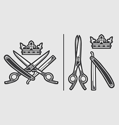 Scissors Razor Crown Logo Emblem vector image vector image