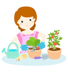 woman planting healthy organic vegetable cartoon vector image vector image