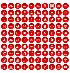 100 kids games icons set red vector