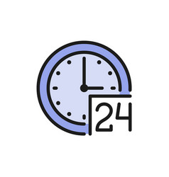 24 hours service support time flat color icon vector