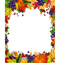 Autumn acorn leaf pumpkin harvest poster vector