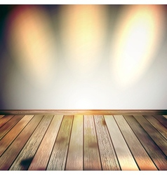 Beige Blue wall with lights wooden floor EPS 10 vector image
