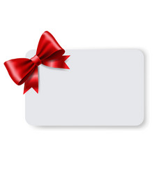Blank gift tag with red ribbon bow vector