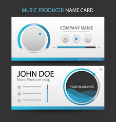Blue music producer business card with ui design vector