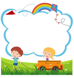 Border template with boy and girl playing cart vector