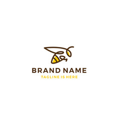 Bumble bee honey hive logo template vector
