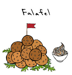 bunch of falafel balls with flag arugula herb vector image