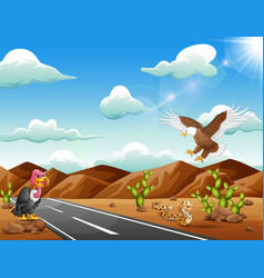 Cartoon eagle birdvulture and snake living in the vector