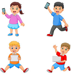 cartoon kids holding tablet phone and laptop vector image