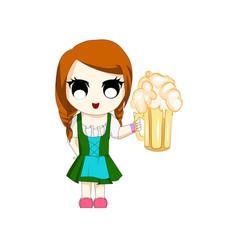 Chi-bi anime girl with beer oktoberfest vector