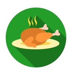 Christmas roasted turkey icon in flat style vector