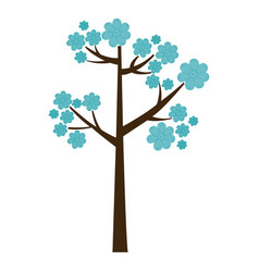 Color silhouette with blue floral tree vector