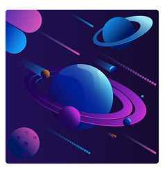 Colorful cartoon fantasy planets set on space vector