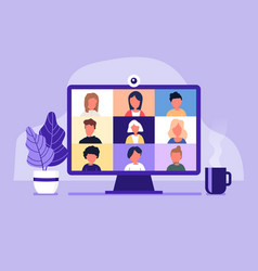Conference video call working from home vector