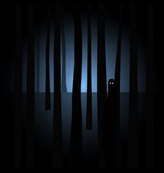 Creepy silhouette with eyes in spooky dark forest vector