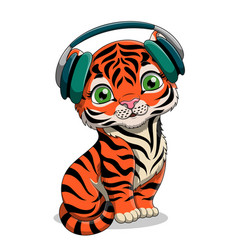 Cute cartoon baby tiger with headphones vector