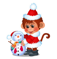 cute monkey dressed as santa claus sculpts snowman vector image