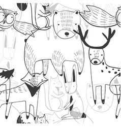 Cute pattern with mess outline cartoon animals vector