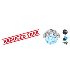 Distress reduced fare line seal and collage vector