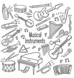 doodle musical instruments in black color vector image