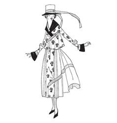 Dress long ribbon vintage engraving vector