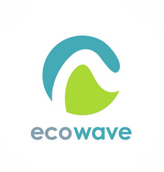 eco wave round logo vector image