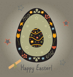 Festive easter egg with cute egg inside from vector