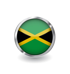 flag of jamaica button with metal frame and vector image