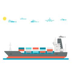 Flat design cargo ship background vector