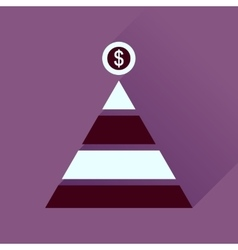 Flat icon with long shadow financial pyramid vector