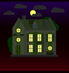 Flat of house at night two-storey vector