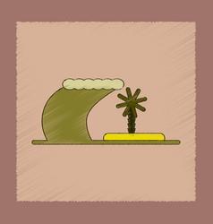 Flat shading style icon tsunami island vector