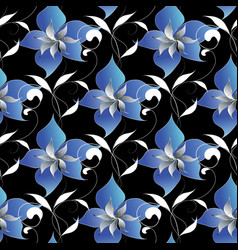 floral elegant seamless pattern black vector image